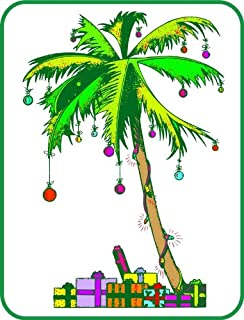 Florida Christmas Palm Tree - Etched Vinyl Stained Glass Film, Static Cling Window Decal