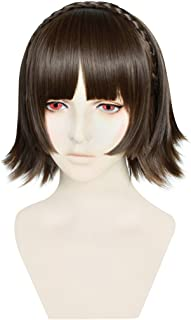 C-ZOFEK P5 Makoto Niijima Cosplay Wig Braid Strip Styled (Dark Brown)