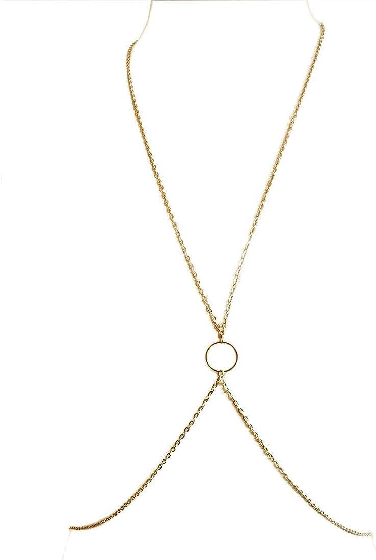 Sinkcangwu Fashion Sexy Harness Bra Body Chain for Women Crossover Bikini Chain Belly Waist Chain Jewelry, Gold
