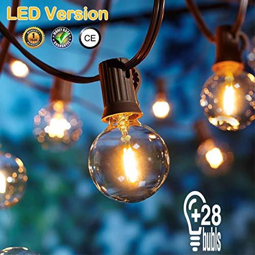 [28 LED Version] Lichterkette Außen,7.6 Meter 28 Glühbirnen OxyLED G40 LED Garten Lichterkette Terrasse außerhalb der Lichterkette,Wasserdichte Innen/Außen Lichterketten für Party,Hochzeit,Weihnachten