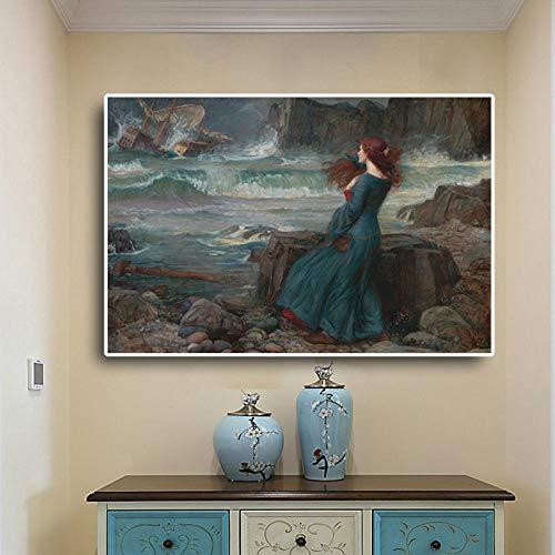 Gemälde Kunstwerk Poster Frau Am Meer 60x90Cm, Geschenk Küche Wandbild Bild Moderne Poster Ölgemälde Wohnzimmer Schlafzimmerwandbild Bild Anpassbare Größe