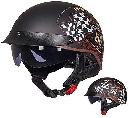 Motorcycle Helmet Retro Vintage Half Helmet,Helmet with Sun Visor Half Helmet Motorcycle Convertible Cruiser Chopper Anti-Collision Safety Helmet,DOT/ECE Approved