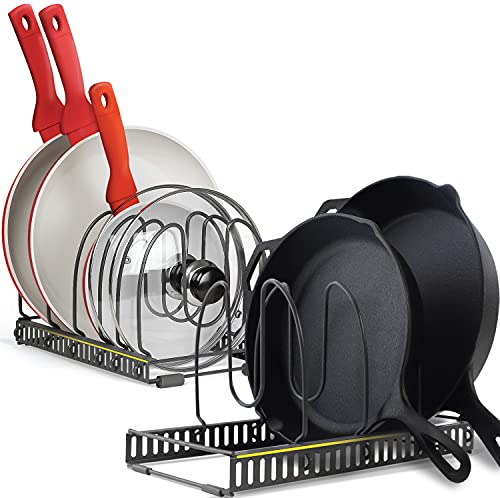 10+ Pans Expandable Pan Organizer Rack