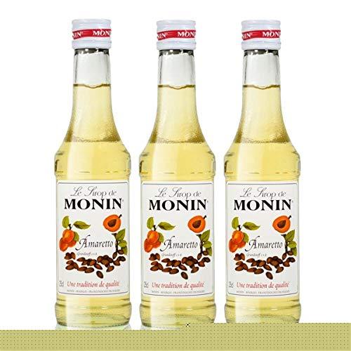 3x Monin Amaretto Sirup, 250 ml Flasche