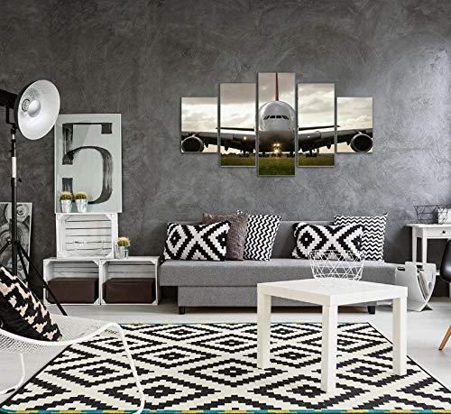 QWASD Grande Cuadro Abstracto sobre Lienzo Modernos Impresión De Imagen Pared 5 Piezas Sala Estar Dormitorio Moderno Decoración Wall Art Canvas Titan Aeroplano