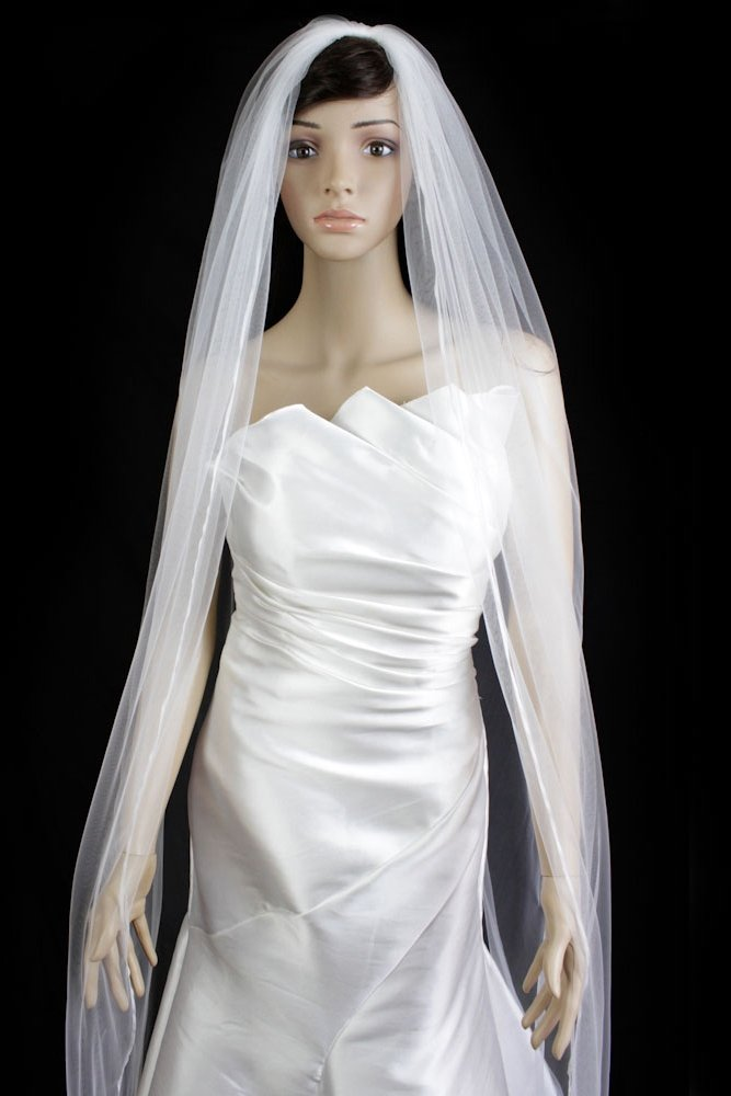 Wedding Veil Bridal Bride 120in One Tier Ivory Cathedral Plain Pencil Trim Edge