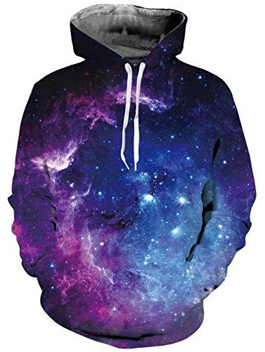 Belovecol Mens Galaxy Hoodies Realistic 3D Print Hooded Purple Galaxy Space...
