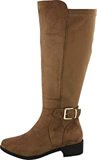 Cambridge Select Women's Round Toe Knee-High Low Heel Stretch Riding Boot