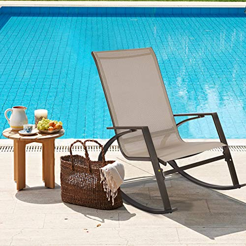 Garden Rocking Chair, High Back Patio Rocker Lounge Chair, Indoor Outdoor Leisure Swing Chair with Metal Steel Frame for Home Patio Balcony Poolside Backyard