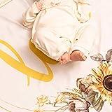 Coperta per Bambino con Tiara per Marcare i Mesi. Design di Girasole. Regalo Perfetto per Baby Shower. Tappeto da Gioco e Sfondo per Fotografie del Primo Anno. Misure 100 x 120cm.