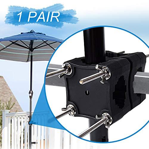 Deyard Sonnenschirmhalter für Balkon, Solider Balkonschirmhalter für Sonnenschirme Platzsparender Halter Flexibel Verstellbarer Spannknopf zur Sicherung von Sonnenschirmen Passend