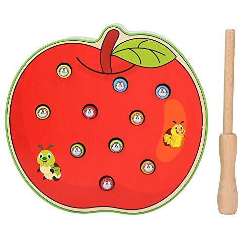 Juego de escritorio, juego de juguete de escritorio de captura de forma de fruta bebé con un palo magnético Educativos para niños Gusanos de pesca Juegos de trampas (Apple)