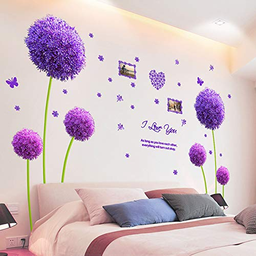 Amoda Wall Stickers Lavender & Purple Dandelion Wall Paper Removable DIY Art Decor Wall Sticker Murals for Kids Girls Bedroom,Living Room TV Background