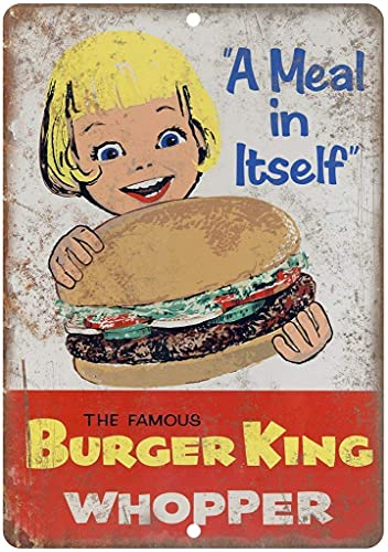 SKDLRZ Burger King Whopper - Letrero de metal para pared para sala de estar,...
