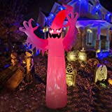 HOOJO 12FT Halloween Large Inflatable Red Fire Ghost Outdoor Decoration with Build in LEDs, Blow up Indoor, Yard, Garden Lawn Decoration