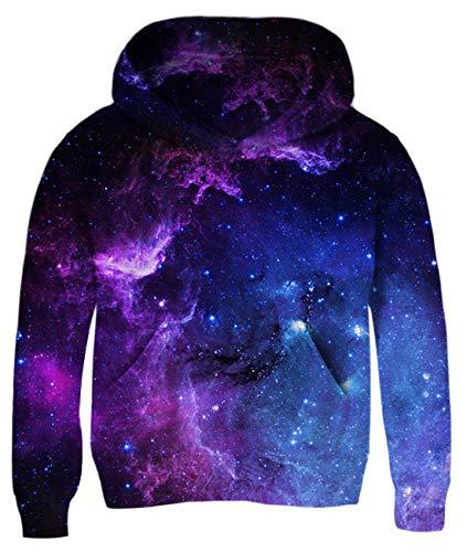uideazone Juniors Galaxy Nebula Cluster Printed Pullover Hoodie Sweatshirt Casual Hooded Jacket