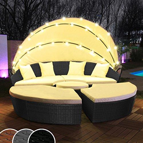 Swing & Harmonie Polyrattan Sonneninsel mit LED Beleuchtung + Solarmodul inklusive Abdeckcover Rattan Lounge Sunbed Liege Insel mit Regencover Sonnenliege Gartenliege (210cm, Schwarz)