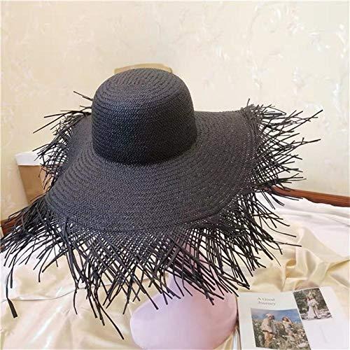 DöllSonnenhut Hut Frauen Übergroße Hut Quaste Strand Hüte Faltbare Sonnenschirm Visierkappe Damen Strohkappen Schwarz