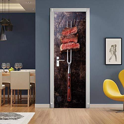 APAJSG Pegatinas Puertas Interiores 3D Vinilo Autoadhesivo Adhesivos para puertas Dormitorio decoración del hogar Cartel 77x200 cm Parilla