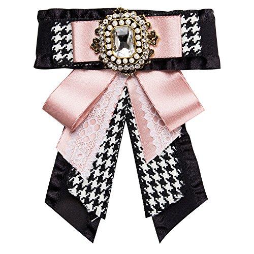 Kentop Spilla a forma di fiocco con strass da donna, per banchetti, feste 16.2×11.5cm Rosa