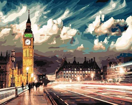-Pintura enmarcada Digital para Adultos, Pintura acrlica del Big Ben de Londres, Artista Decorativo