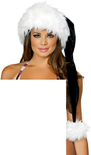 J Valentine Sexy Holiday Christmas white black deluxe Santa hat