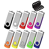 AreTop 32GB Flash Drive 10 Pack, USB Flash Stick with Easy-Storage Bag Pen Drive Gig Stick Memory Stick USB2.0 Pendrive 32GB Thumb Drives for Fold Data Storage (10 PCS 32GB- 10 Mix-Colors)