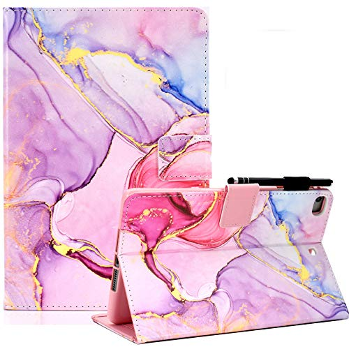 KEROM iPad 9.7 inch 2018 2017 Case, iPad Air Case, iPad Air 2 Case, PU Leather Folio Cover, Stand Wallet Protective Case with Auto Sleep Wake for iPad 6th 5th Gen/iPad Air 2/iPad Air -Pink marble