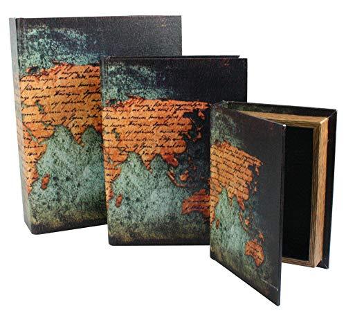 Emartbuy Set of 3 Secret Book KeepSafe Vintage Money Jewellery Keys Storage Box Gift - World Map