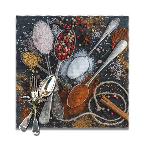 Houity Lepel En Spice Charm Wasbaar Zacht Voor Keuken Diner Tafelmat Plaats Mat, Makkelijk Te Reinig Handige Opvouwbare Opslag Placemat 12x12 Inch Set Van 6