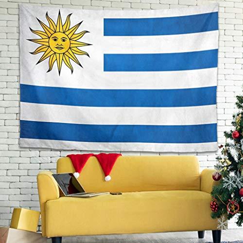 Tapiz de pared con símbolo de la bandera de Uruguay, de estilo bohemio, para colgar en la pared, para el sofá, color blanco, 150 x 150 cm