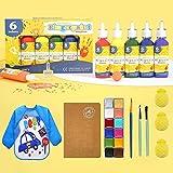 Fingerfarben Set, kinder, Riesige Inhalt, ungiftig, parabenfrei, glutenfrei, laktosefrei, für Kinder DIY, geeignet zum Malen in Kindergarten, Schule, Therapie und zu Hause,Kreavität entdecken.