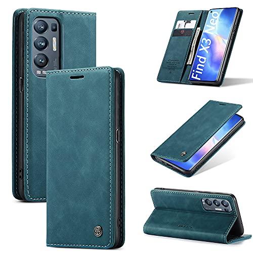 KONEE Hülle Kompatibel mit Oppo Find X3 Neo, Lederhülle PU Leder Flip Tasche Klappbar Handyhülle mit [Kartenfächer] [Ständer Funktion], Cover Schutzhülle für Oppo Find X3 Neo - Blaugrün