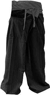 2 Tone Thai Fisherman Pants Yoga Trousers Free Size Cotton Gray Black