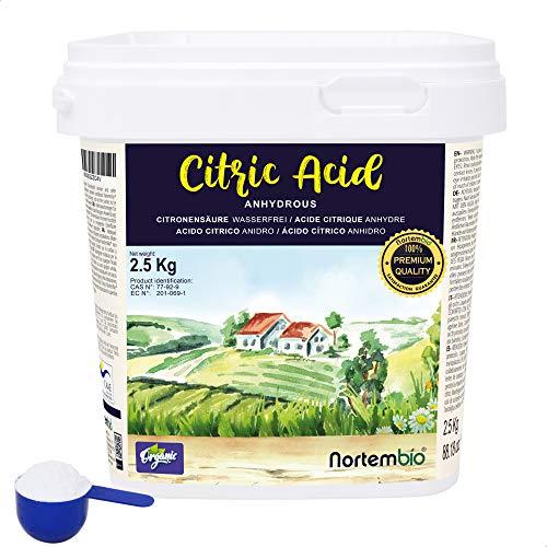 Nortembio Acide Citrique 2,5 Kg. Poudre Anhydre, 100% Pure. pour la Production Biologique. E-Book Inclus.