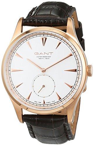 GANT Huntington W71003 - Reloj de pulsera para hombre (correa de piel, analógico), color marrón, dorado y blanco