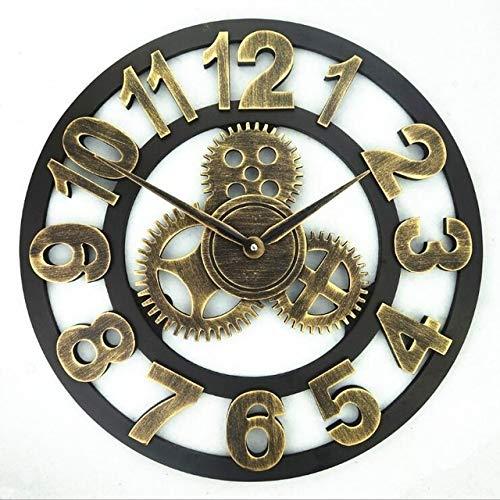 Sygjal 3D clásica Grande Reloj de Pared de Madera de la Vendimia del Engranaje del Reloj Colgante Retro número Romano Decoración Estilo Europeo Reloj de Pared (Color : Gold 1, Sheet Size : 34 CM)
