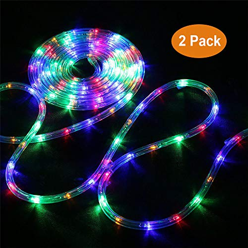 Bebrant LED Rope Lights Battery Operated String Lights-40Ft 120 LEDs 8 Modes Outdoor Waterproof Fairy Lights Dimmable/Timer with Remote for Camping Party Garden Holiday Decoration(Multi-Color 2 Pack)