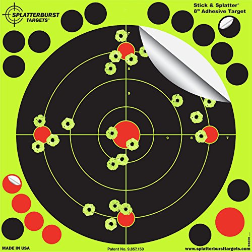 Splatterburst Targets - 8 inch Adhesive Stick & Splatter Reactive Shooting Targets - Gun - Rifle - Pistol - Airsoft - BB Gun - Pellet Gun - Air Rifle (100 Pack)