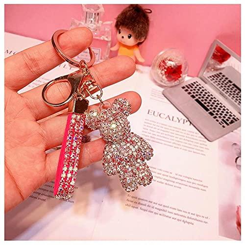 Llavero De Diamantes De Imitación Correa De Cuero Llavero De Coche Colgante De Bolso -Rose_Red
