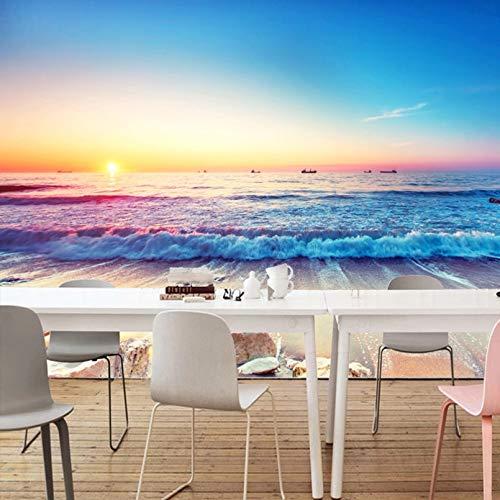 Custom 3D Stereo Mural Wallpaper Romantic Mediterranean Beach Murals Silk Living Room Bedroom TV Backdrop Photo Wallpaper 200x140cm