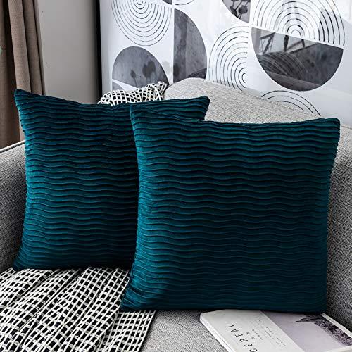 Yamonic Housses Coussin en Velours45x45cm pour Salon Canapé,Lot de 2 Housses Coussin Carrés de Motif uni (Motif de Vague) Décoration Chambre,Bleu Vert