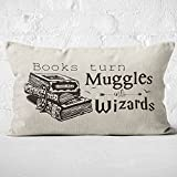 Books Turn Muggles Into Wizards Throw Pillow Case, 12 x 20 Inch, Gift for Book Lover, Book Club Gifts, College Dormitory Decor, Bedroom Reading Book Club Decor, Linen Cushion Cover for Sofa Couch Bed
