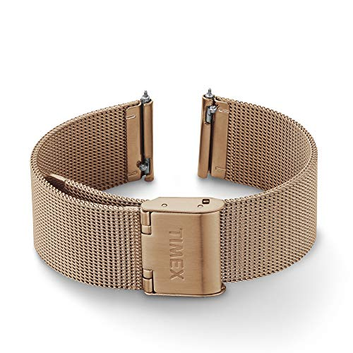Timex 18mm Stainless Steel Mesh Quick-Release Bracelet – Rose Gold-Tone with Self-Adjust Clasp