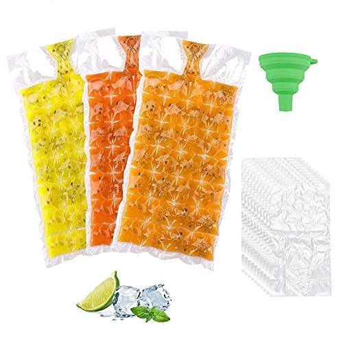 Bandejas para Hielo 50 Paquetes de Bolsas de Cubitos de Hielo Desechables, Material PE de Grado Alimenticio 2400 Cubitos de Hielo con un Embudo de Silicona Plegable