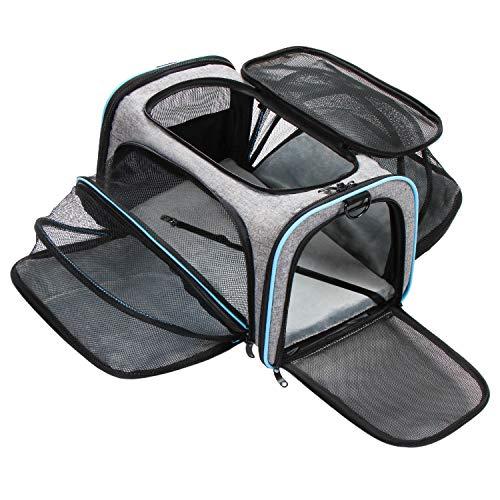 Zellar Transportadora Para Mascotas, bolsa de viaje portátil para mascotas expandible, plegable y suave, aprobado por aerolíneas, con almohadilla de felpa extraíble para gatos.