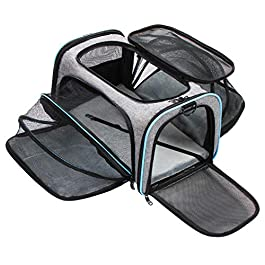 Zellar Cat Carrier, Portable Travel Pet Carrier, Dual-sided Expandable Breathable Mesh Dog Carrier, Portable Travel Pet Bag with Pockets and 2 Reflective Tapes for Cats, Puppy