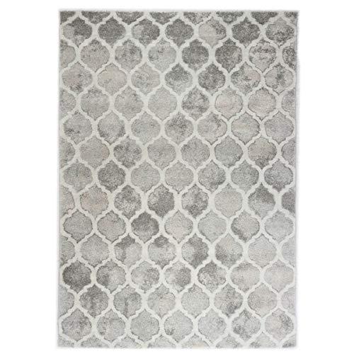Vintage Vloerkleed - Marmer en Ruit Design - Century - Grijs-Beige-80 x 300 cm