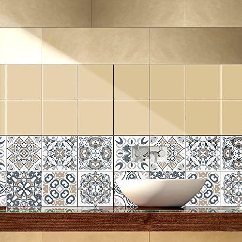 Pegatinas de Baldosas para Baño y Cocina, Hiser 10 Piezas Impermeable Azulejos Pegatinas Adhesivo Decorativo para Azulejos Pegatina de Pared (Floral,15x15cm)