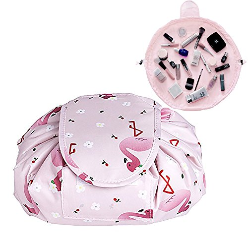 YiKiMira Lazy Portable Makeup Bag Large Capacity Drawstring Cosmetic Bag Waterproof Travel Makeup Pouch Magic Toiletry Bag Storage Organizer for Women Girls